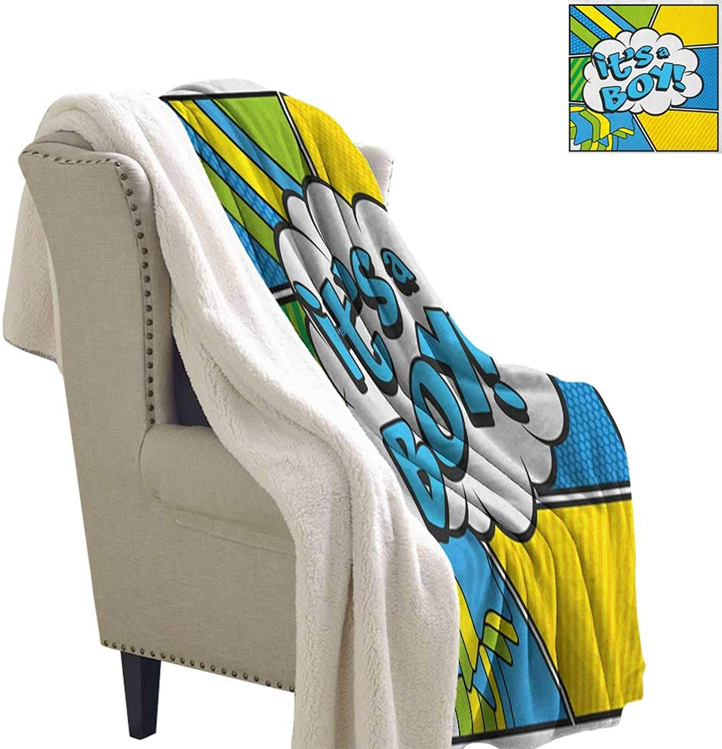 Suchashome Gender Reveal Heavy Sherpa Blanket Pop Art Style Comics Its A Boy Vintage Announcement Theme Flannel Bed Blankets 60x32 Inch Sky bluee Yellow Fern Green