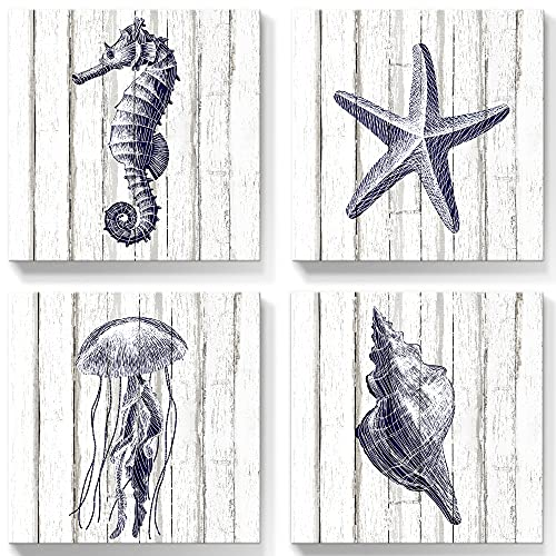 Kindom Sealifes Wall Art Ocean Beach Canvas Prints Abstract Starfish Pictures Jellyfish Poster for Modern Living Room Bedroom Bathroom Home Decor, Framed Ready to Hang 12x12 inches,4 Panels