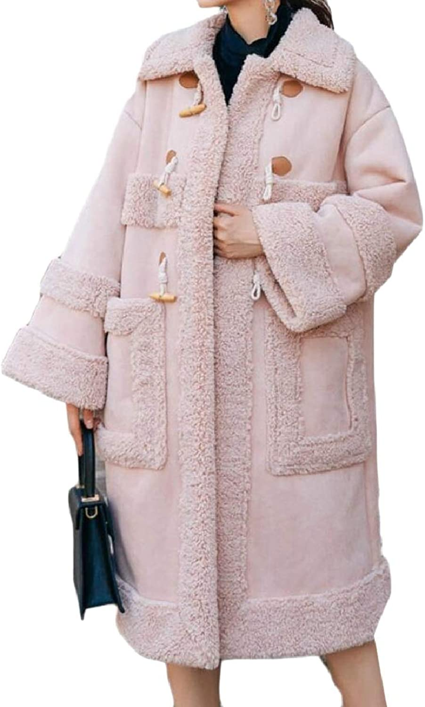 LEISHOP Women's Lapel Faux Suede Fleece Long Sleeve Overcoat Solid Jacket Peacoat