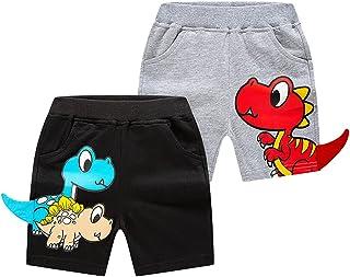 Niños Algodón Pantalones Cortos Pack de 2 Casuales Cintura Elástica Niñito Pantalones Cortos Exterior Deportivos de Verano