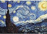 A-Generic 1000 Piezas de Rompecabezas para Adultos Noche Estrellada por Vincent Van Goah Challenguos de Pintura al óleo Rompecabezas Jigsaw Puzzles Juego de Rompecabezas para cumpleaños/Navidad