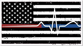 Back The Red & Blue decal - Thin Blue/Red Line flag thin line EMS - (PACK OF 2)