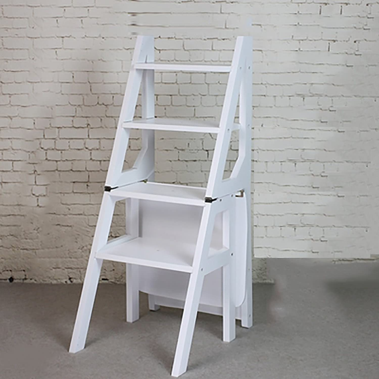RMJAI Ladder Stool Solid Wood Step Stool Household Two Step Folding Ladder Kitchen Dual-use Three Layers Staircase Stool (color   White)