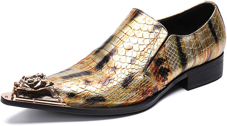 Y -H -H -H Mans skor, Mode Point Rivet skor, T -steg Catwalk Dress skor, Nightclub Hairstylist Party & Evening (Färg  gul Storlek  43)  billig och högsta kvalitet