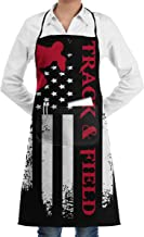 American Flag Track And Field Adjustable Neck Bib Aprons With Front Pocket For Mens And Womens