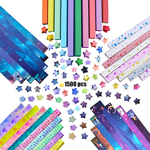 1500 Hojas Papel Origami Star, Doble Cara Origami Estrellas, Lucky Star Tira, Origami Papel Estrellas, Origami Paper Craft