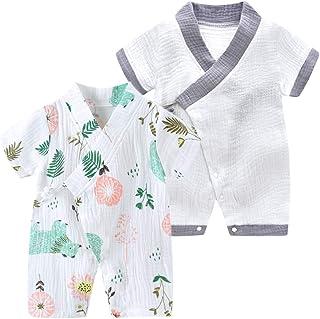 JunNeng Newborn Baby Cotton Kimono Robe Romper One Piece Toddler Unisex Cute Short Sleeves Pajamas Sets