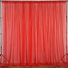 Efavormart 10FT Premium Fire Retardant Red Sheer Voil Curtain Panel Backdrop for Window Wall Decoration - Premium Collection