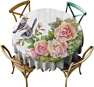 Mannwarehouse Watercolor Waterproof Tablecloth Wild Exotic Birds Roses Spring Season Flowers Leaves Buds Painting Artwork Image Easy Care D47 Multicolor