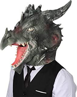 Dragon Head Costume Mask Latex Rubber Animal Mask Face Disguise Halloween Party Green