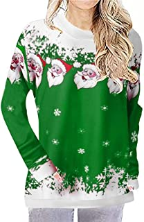 WUAI Women's Casual Long Sleeve Christmas Santa Claus Reindeer Snowflake Xmas Holiday Tunic Tops T Shirts