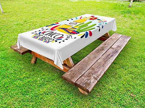 ABAKUHAUS Cinco de Mayo Outdoor-Tischdecke, Tequila-Kaktus-Hut, dekorative waschbare Picknick-Tischdecke, 145 x 305 cm, Mehrfarbig