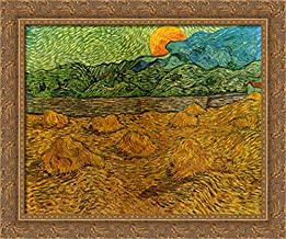 Evening Landscape with Rising Moon 24x20 Gold Ornate Wood Framed Canvas Art by Vincent Van Gogh