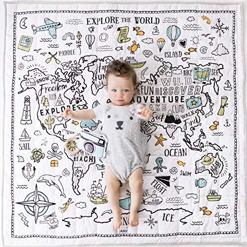Biggystar Tapis de Jeu pour bébé Tapis de Jeu World Explorer Tapis de Chambre à Coucher Décoration de Tapis