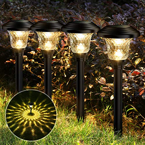 Balhvit Glass Solar Lights Outdoor, 8 Pack Super Bright Solar Pathway Lights, Up to 12 Hrs Long Last Auto On/Off Garden Lights Solar Powered Waterproof, Stainless Steel LED Landscape Lighting for Yard