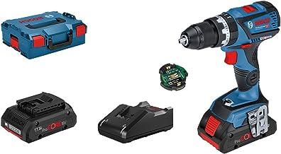 Bosch Professional 18V System GSB 18V-60 C - Taladro percutor a batería (60 Nm, 1900 rpm, módulo Connectivity, 2 baterías ProCORE x 4,0 Ah, en L-BOXX)