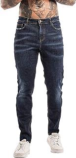 Men's Skinny Jeans Stretch Ripped Denim Pants Slim Fit Straight Leg