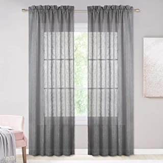 NICETOWN Linen Textured Voile Panels - Rod Pocket Design Privacy Semitransparent Sheer Drapes for Sliding Glass Door & Farmhouse (Dark Grey, 52 inches x 84 inches,1 Pair)