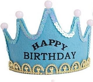 Happy Birthday Party Rave Kid's Tiara Costume Accessory Light Up Flashing LED Princess Crown Hairband Hair Hoop Headband - Happy Birthday … (Blue)