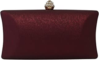 Chicastic Rhinestone Crystal Clasp Hard Box Wedding Evening Bag Bridal Cocktail Clutch Purse Wine Red