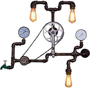 INJUICY Industrial Steam Punk Wall Lamp, Antique Metal Water Pipe Sconces Light with Bicycle Shape for Bedroom Living, Dining