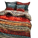 Unimall - Set di biancheria da letto 100% in cotone, con copripiumino trapuntato, dallo stile esotico Boho o bohémien, 3 pezzi, 152,4 x 208,3 cm, Cotone, Red, 78 * 90 Inch