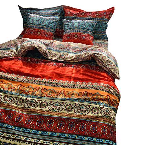 Unimall Bettwäsche Feinbiber Böhmisch Stil 100% Baumwollen Microfaser kuschelig Boho Bettbezug für Doppelbett 200x220 cm