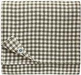 Linen & Cotton Mantel de Tela Mesa Pequeña Centro a Cuadros Estella - 100% Lino, Blanco Gris (100 x 100 cm) Cuadrada Festivo para Casa Hogar Comedor Restaurante Cafetería Verano Primavera Pascua