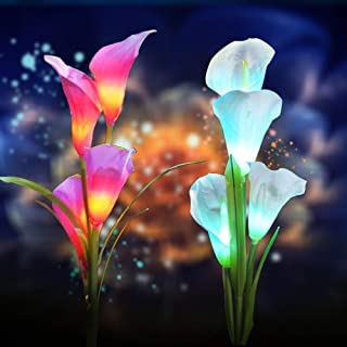 2 Pack Solar Flower Lights, Outdoor Solar Flower RGB Landscape Lights with 8pcs Calla Lily Flowers, Auto Multi-Color Changing Solar Flower Garden Lighting with Spike for Lawn, Backyard (Purple/White)