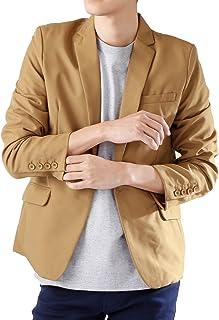 (モノマート) MONO-MART 1つボタン テーラードジャケット スーツ生地 ジャケット テイラードジャケットMODE メンズ キャメル Mサイズ
