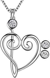 Music Necklace Women 925 Sterling Silver Music Note Heart of Treble and Bass Clef Pendant/Earring/Rings Musician Jewelry