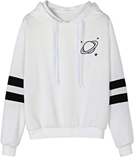 Quealent Hoodies for Women, Women's Planet Graphic Print Casual Thick Crop Hoodie Pullover Hooded Sweatshirt Top Blouse