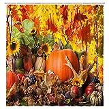 NYMB Herbstsaison Duschvorhänge, Erntedankfest, ländlicher Stil, Kürbis-Sonnenblumen & Mais unter Herbstblättern, buntes Badezimmer-Deko-Set mit Duschhaken, 174,4 x 178,8 cm