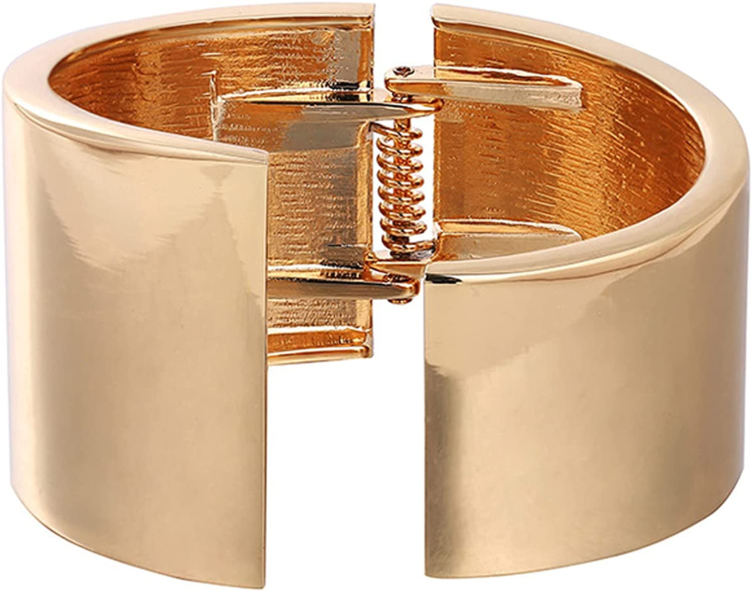 Gold Tone Wide-Edge Smooth Opening Bangle Bracelet Minimalist Polished Frosted Irregular Twist Grooved Cuff Bracelet Gothic Style Chunky Statement Fashion Jewelry for Women Teen Girl
