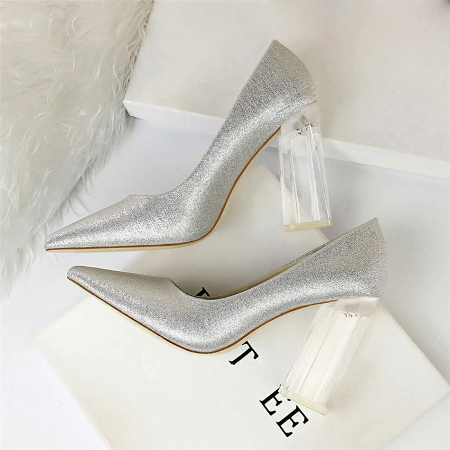 FASZQ Pointed Toe Transparent Block High Heels Stain Yellow Pumps Women Fall Spring Elegant Lady Office Party shoes