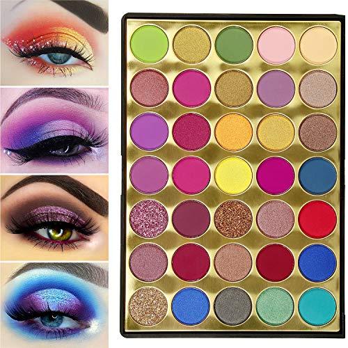 Lidschatten Palette Matte und Glitzer,De'Lanci Eyeshadow Palette Bunt 35 Farbe Hochpigmentiert,Red...