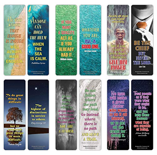 Creanoso Quotes for Leaders Inspirational Sayings Bookmarks (60-Pack) – Awesome Bookmarks for Bookworm, Bibliophiles – Unique Book Reading Page Binders – Stocking Stuffers Gifts for Book Readers