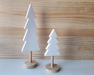 Pack de árboles de Navidad de madera en blanco y pino natural de estilo nórdico - Alturas: 32 cm y 20,5 cm - Decoración de...