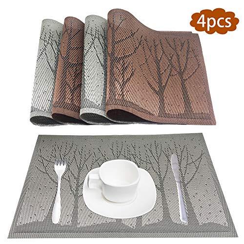 EQLEF Set di 4 tovagliette da tavola in PVC Grigio e Blu, tovagliette Personalizzate in Argento per Cucina e Sala da Pranzo, tappetini Antiscivolo Resistenti al Calore