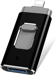 Memoria USB para iPhone -Limón Memoria Externa 3 en 1 OTG USB 3.0 Memory Stick Almacenamiento Externo de Datos DataTraveler USB Flash Drive Expansión de Memoria Compatible Dispositivo Android Samsung HUAWEI ios iPad Macbook Windows PC Tablet -32G