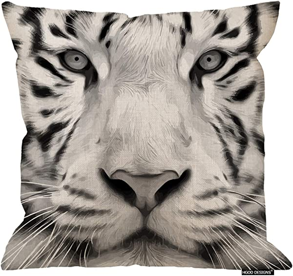 HGOD DESIGNS Tiger Pillow Cover Animal Gray Scale Closeup Portrait Of A White Bengal Tiger Cotton Linen Cushion Covers Home Decorative Throw Pillowcases 18x18inch