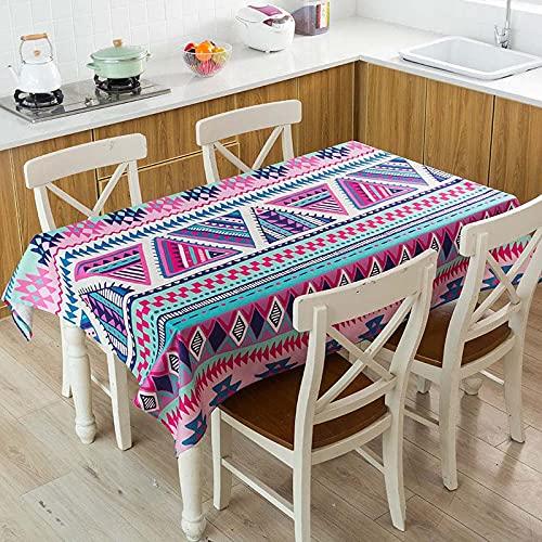 XXDD Mantel de Lino Impermeable con patrón de costumbres étnicas africanas, Mantel Decorativo para el hogar, Cocina, Hotel, Escritorio, A11, 140x160cm