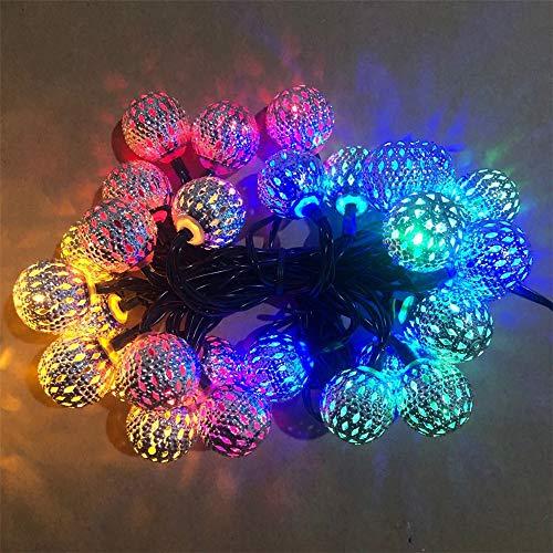 Guirnalda de luces solares de bola marroquí, luces LED de metal, para interiores y exteriores, para bodas, dormitorios, ventanas, jardines, decoraciones de patio