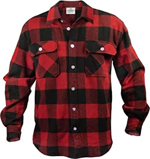 EXTRA HEAVYWEIGHT BRAWNY FLANNEL SHIRT - RED/BLACK LARGE