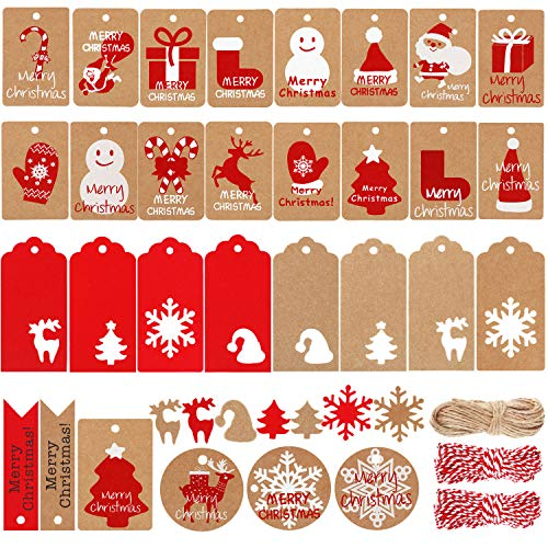 306 Pieces Christmas Kraft Paper Tags Gift Tags Hang Labels with Snowflake Christmas Tree Elk Snowman Patterns, 98.4 Feet Twine Rope for Christmas Gift Decoration, 30 Styles