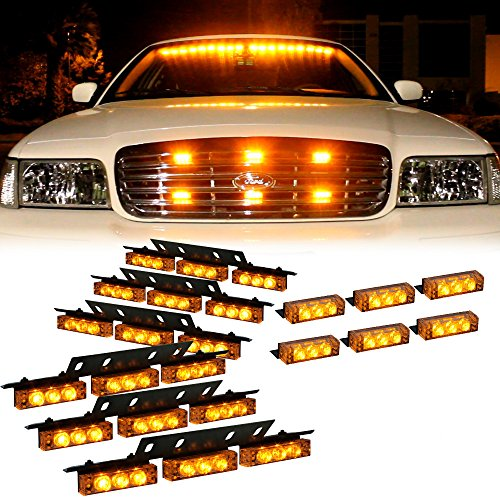 Amber 54X LED Grille Deck Visor Dash Emergency Strobe Lights for Truck Construction Security Vehicles - Interior Yellow Flashing Warning Lights