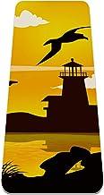 BestIdeas Yogamat Vuurtoren Albatross Vogelzonsondergang Silhouet voor Yoga, Pilates, Vloeroefening Mannen Vrouwen Meisjes...