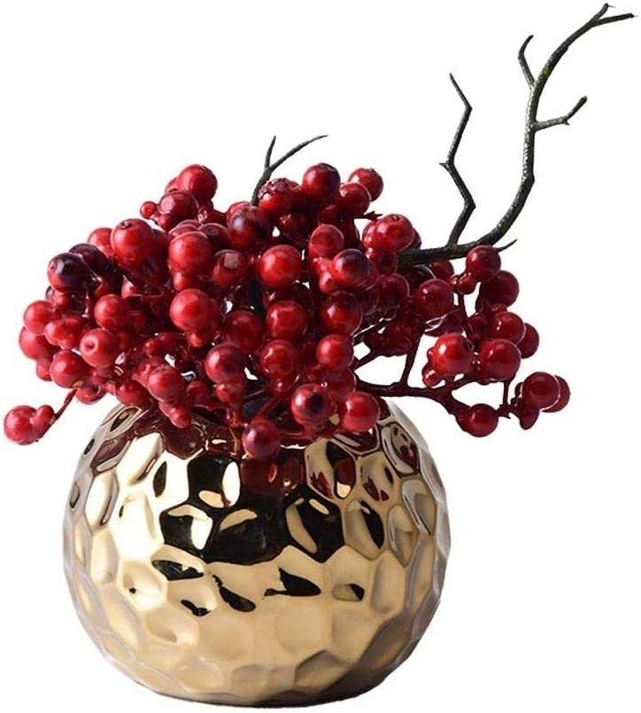CHJUF Artificial Flower Over item handling ☆ Red Charlotte Mall Golden with Berry Ceramic