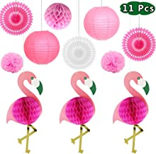 Flamingo Party Supplies Tropical Decoration - 11 Pcs with Honeycomb Decoration,Paper Flowers Tissue Paper Fan Paper Lanterns for Hawaiian Summer Beach Luau Party