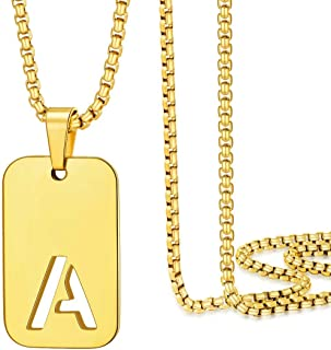 Gold Initial Necklaces for Men Women, 18K Gold Filled...